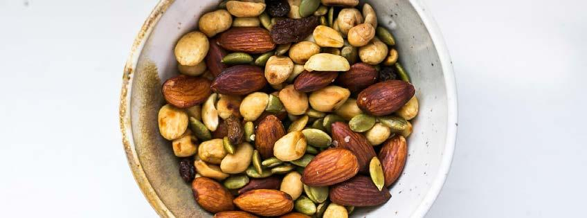 Toasted Trail Mix 5 ingredients 10 minutes 4 servings 1. Toss almonds and salt in a large pan over medium-low heat and toast for 2-3 minutes.