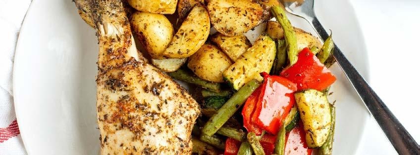 One Pan Roasted Veggies & Chicken 9 ingredients 35 minutes 2 servings 1. Preheat the oven to 400ºF (204ºC) and line a baking sheet with parchment paper. 2. Place the chicken in the center of the baking sheet and arrange the chopped vegetables in a single layer around the chicken.