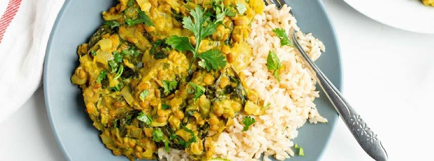 Spinach Lentil Curry 16 ingredients 25 minutes 4 servings 1. In a large skillet, heat oil over medium heat.