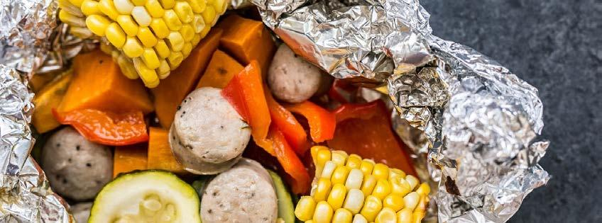 Sausage and Veggie Foil Packets 7 ingredients 30 minutes 4 servings 1. Preheat grill to medium heat. 2. Create a double layer of foil for each serving and divide all ingredients accordingly.