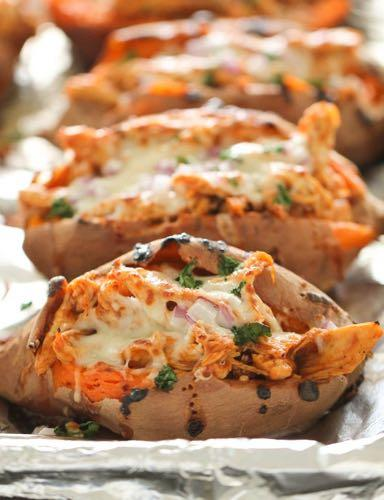 DAY 2 BBQ CHICKEN STUFFED BAKED SWEET POTATOES M A I N D I S H Serves: 6 Prep Time: 15 Minutes Cook Time: 1 Hour 5 Minutes 6 sweet potatoes 3 boneless skinless chicken breasts 2 cups BBQ sauce 1 cup