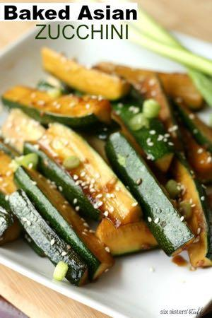 BAKED ASIAN ZUCCHINI S I D E D I S H Serves: 8 Prep Time: 10 Minutes Cook Time: 25 Minutes 4 medium/small zucchinis 1/2 Tablespoon minced garlic 1 Tablespoon honey 1/4 cup soy sauce 1 Tablespoon