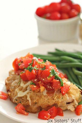 DAY 5 STANDARD FAMILY BAKED BRUSCHETTA CHICKEN RECIPE M A I N D I S H Serves: 6 Prep Time: 25 Minutes Cook Time: 30 Minutes 1/2 cup dry Italian bread crumbs 1/3 cup grated Parmesan cheese 3/4 cup