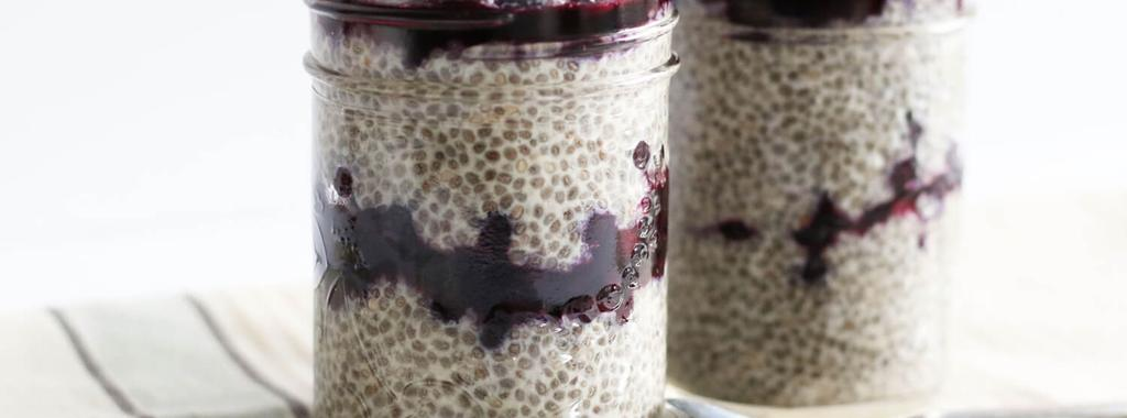 Blueberry Chia Parfait 5 ingredients 30 minutes 2 servings 1. In a bowl, mix together the almond milk, chia seeds and maple syrup. Whisk until well combined.