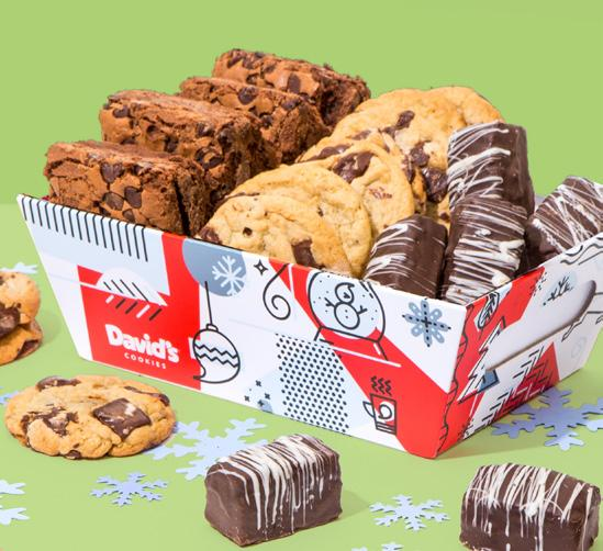 Our whimsical holiday crate features a mix of David s all-time customer favorites: Brownies, Chocolate Chunk Cookies and Chocolate- Covered Brownie Bites.