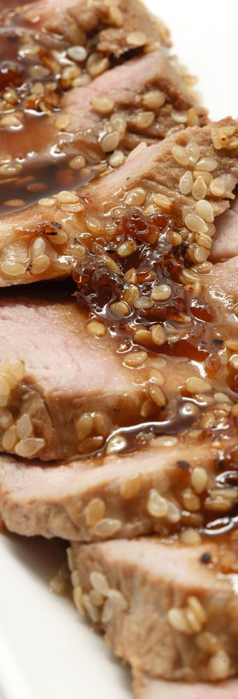 Sesame Pork Tenderloin (Serves 4-6) Two 3 4 pound pork tenderloins 1/3 cup lemon juice 2 teaspoons dark sesame oil 1 2 teaspoon garlic powder 1 2 teaspoon ground ginger Sesame seeds Combine lemon