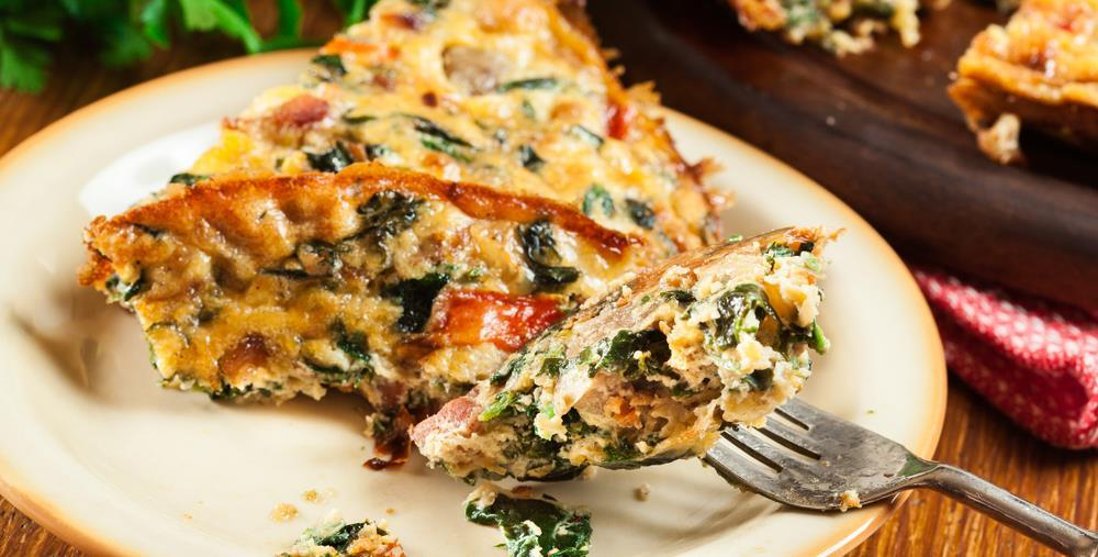 Superfood Frittata 2 cups clean and de-stemmed chopped kale ½ onion, chopped 1 red pepper, chopped 3 slices cooked bacon, chopped 8 eggs ¼ cup coconut milk S&P 1 tbsp coconut oil Preheat oven to 350.