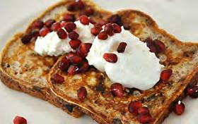 Sprouted Grain French Toast Servings: 5 5 slices cinnamon raisin, sprouted grain bread 1 cup egg whites 6 oz fat free, Greek yogurt 1 tsp. vanilla extract ½ tsp.