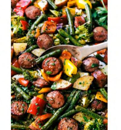 One-Pan Healthy Sausage & Veggies Servings: 4 2 small (1 cup) red potatoes, cubed 3/4 lb.