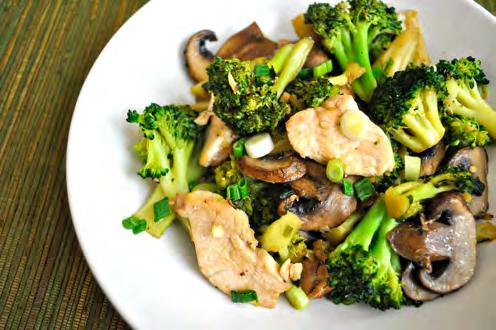 Broccoli Stir-Fry with Chicken and Mushrooms Servings: 2 2 tbsp. good-quality vegetable oil or coconut oil 2 tbsp. minced garlic 1 tbsp. minced fresh ginger 4 scallions, chopped 1 lb.