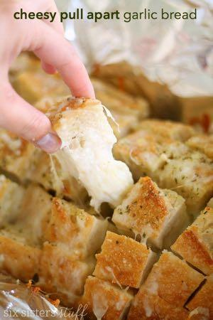 CHEESY PULL APART GARLIC BREAD S I D E D I S H Serves: 8 Prep Time: 5 Minutes Cook Time: 20 Minutes 1/2 cup butter (melted) 2 Tablespoons Johnny's Garlic Spread and Seasoning 1 loaf sourdough bread 2