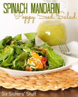 SPINACH MANDARIN POPPY SEED SALAD RECIPE S I D E D I S H Serves: 8 Prep Time: 10 Minutes Cook Time: 8 ounces baby spinach 1/2 head Romaine lettuce (chopped) 1/2 red onion (thinly sliced) 1 avocado