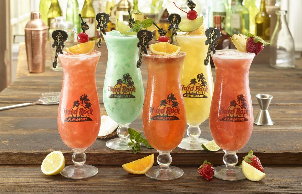 RELIVE this moment with your own collectible glass big kablue-na cayman mama mai tai one on hurricane fruitapalooza SIGNATURE COCKTAILS CAYMAN MAMA BACARDI Superior Rum, Coconut Rum, crème de banana,