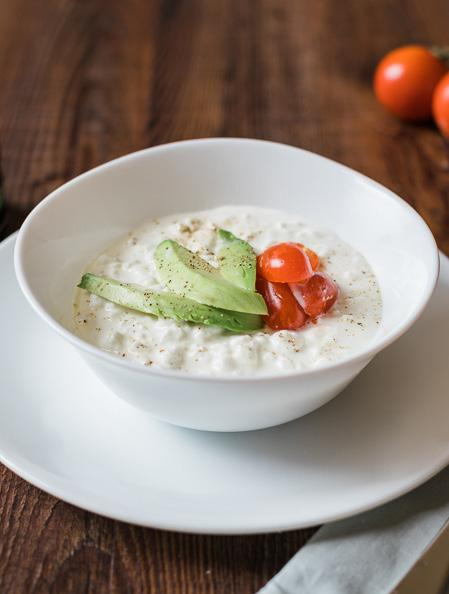 Cottage Cheese Bowl 1 serving ½ cup cottage cheese ½ avocado ½ cup cherry tomatoes ½ tsp. salt ½ tsp. black pepper Slice the avocado and tomatoes into bite sizes. Pour overtop of cottage cheese.