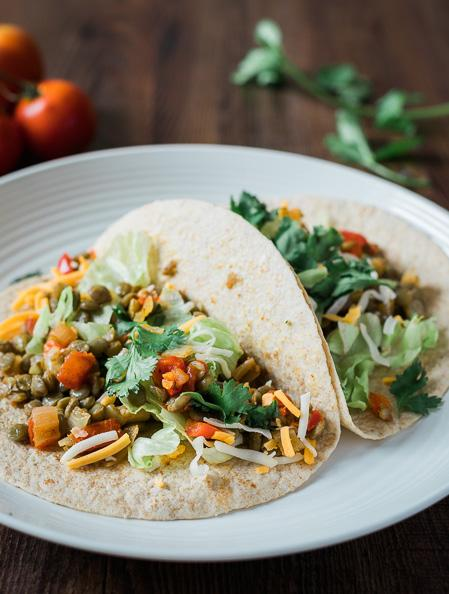 Lentil Taco 4 servings 1 cup dry lentils 2 cups low-sodium stock 1 tsp. canola oil ½ cup onion, diced 1 clove garlic, minced ½ cup red pepper, diced ½ cup tomatoes, diced 1 tsp. chili powder 1 tsp.