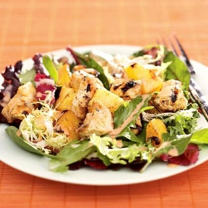 Thai Chicken, Mango & Pineapple Salad What you ll need: 1 (14-ounce) can regular or light coconut milk 1 tablespoon Thai red curry paste, or more to taste 2 teaspoons freshly grated orange zest 1/2