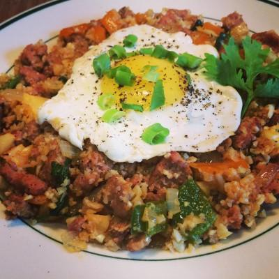 Chorizo Rice with Fried Egg Servings 2 Total Time: 25 minutes Cook Time: 25 minutes Calories 609 Carbohydrate 13g Protein 51g Fat 41g 1 pound(s) chorizo, ground 1/ 2 head(s) cauliflower cut into