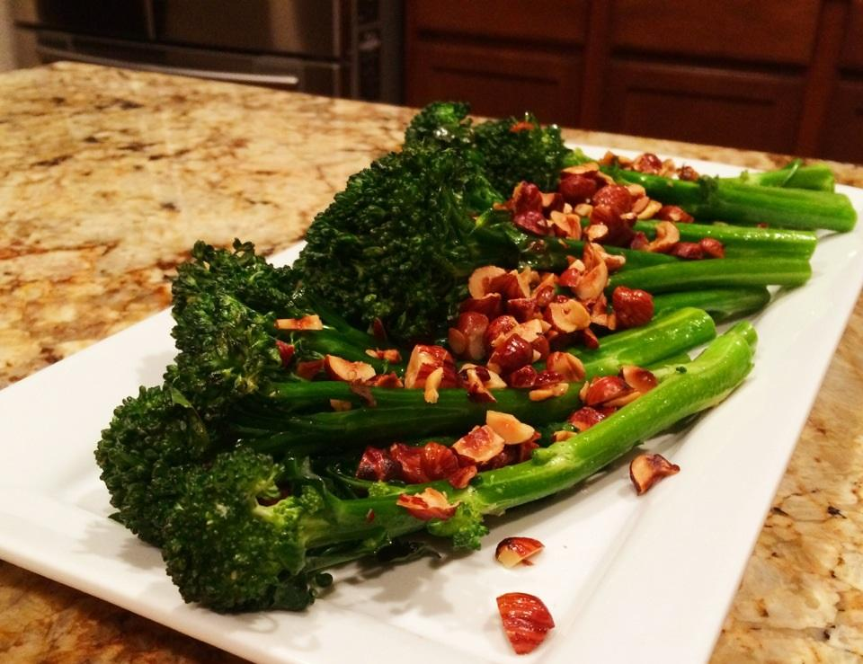 Broccolini with Hazelnuts Total Time: 35 minutes Cook Time: 35 minutes Calories 194 Carbohydrate 20g Protein 7g Fat 11g 1 tablespoon(s) olive oil or coconut oil (or use bacon drippings) 1/ 3 cup(s)