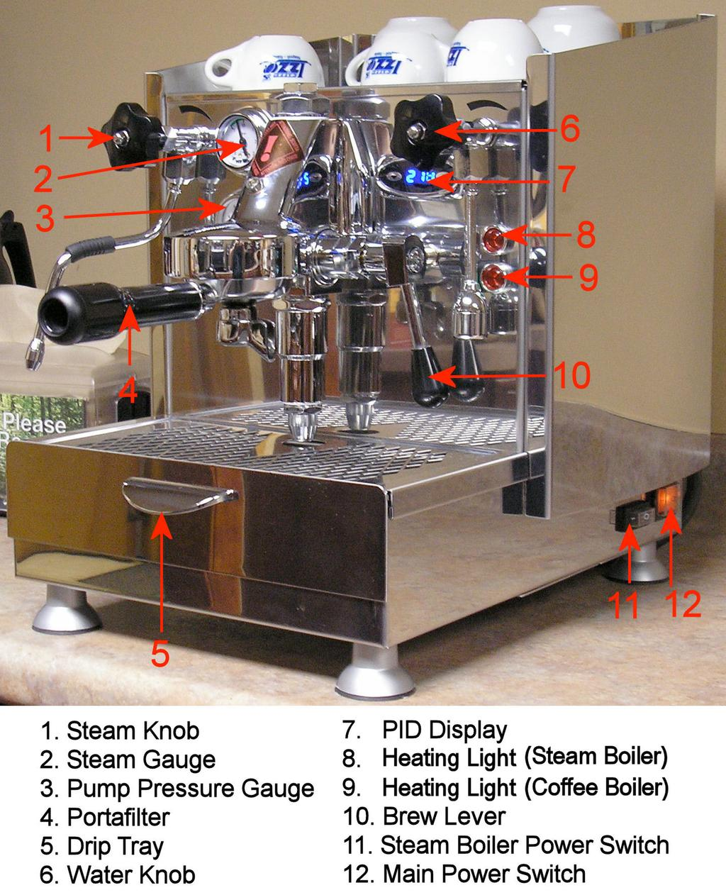 Remove The Machine From Box And Screw Legs Into Threaded Coffee Diagram