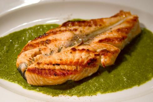 Grilled Snapper with Pesto 1 ½ cup packed fresh basil leaves 1 ½ cups packed fresh cilantro ¼ cup packed fresh mint leaves ¼ cup olive oil 3 tablespoons lime juice 3 cloves garlic (chopped) 1