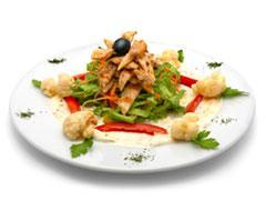 Grilled Chicken Breast Salad 1 cup lettuce 1 grilled chicken breast 1/4 cup croutons 1 tablespoon grated parmesan cheese