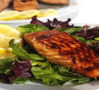 Barbeque Roasted Salmon 4 Servings @ 302 calories Preheat oven to 400 degrees. Coat a shallow baking dish with cooking spray.