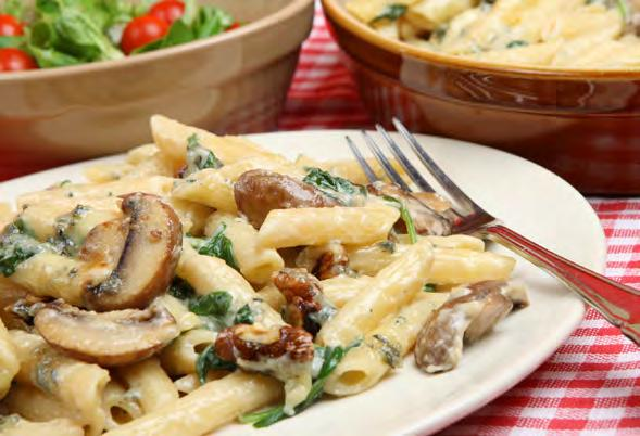 mushrooms 13 Easy Cheesy Whole Wheat Mushroom Pasta Serves 6 Approximately 30 minutes 12 oz. whole wheat rigatoni 2 tbsp. olive oil 1 ½ lb. mushrooms, sliced 1 onion, chopped 1 tsp. dried thyme 1 tsp.