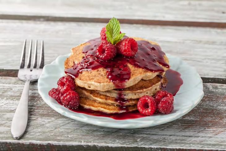 raspberries 22 Raspberry Oatmeal Pancakes Serves 4 Approximately 20 minutes 1 ½ cups whole wheat flour ¾ cup old fashioned oatmeal, uncooked 2 ½ tsp. baking powder 1 tbsp. sugar ¼ tsp.
