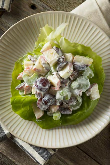 grapes 25 Chicken Waldorf Salad Serves 4 Prep time: Approximately 30 minutes 1 3 cup low-fat mayonnaise 1 3 cup nonfat plain yogurt 2 tsp. lemon juice 2 tbsp.
