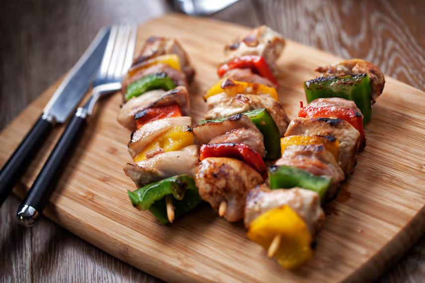 bell peppers 30 Colorful Pepper Skewers Serves 4 Approximately 1 hour 3 chicken breasts, boneless and skinless 3 large onions 3 bell peppers, red, yellow and green 3 tbsp.