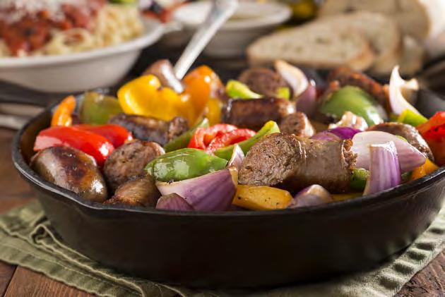 bell peppers 32 Sausage and Pepper Skillet Serves 4 Approximately 40 minutes 6 links sweet Italian chicken sausage 2 tbsp.