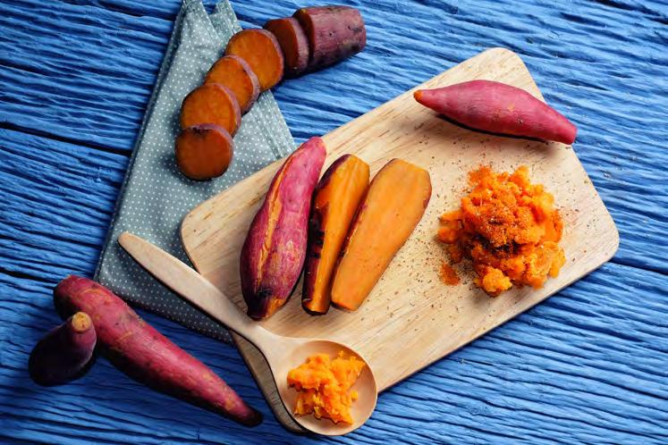 yams 36 Thai-Seasoned Baked Yams and Sweet Potatoes Serves 6 Approximately 1 hour 2 sweet potatoes, peeled and cubed 3 purple yams, peeled and cubed 1 large carrot, chopped thickly 3 tbsp.
