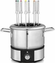 Invite your family and friends over and enjoy and celebrate together. The WMF LONO Fondue makes special meals a shared pleasure. With 8 fine Cromargan fondue forks and a 1.