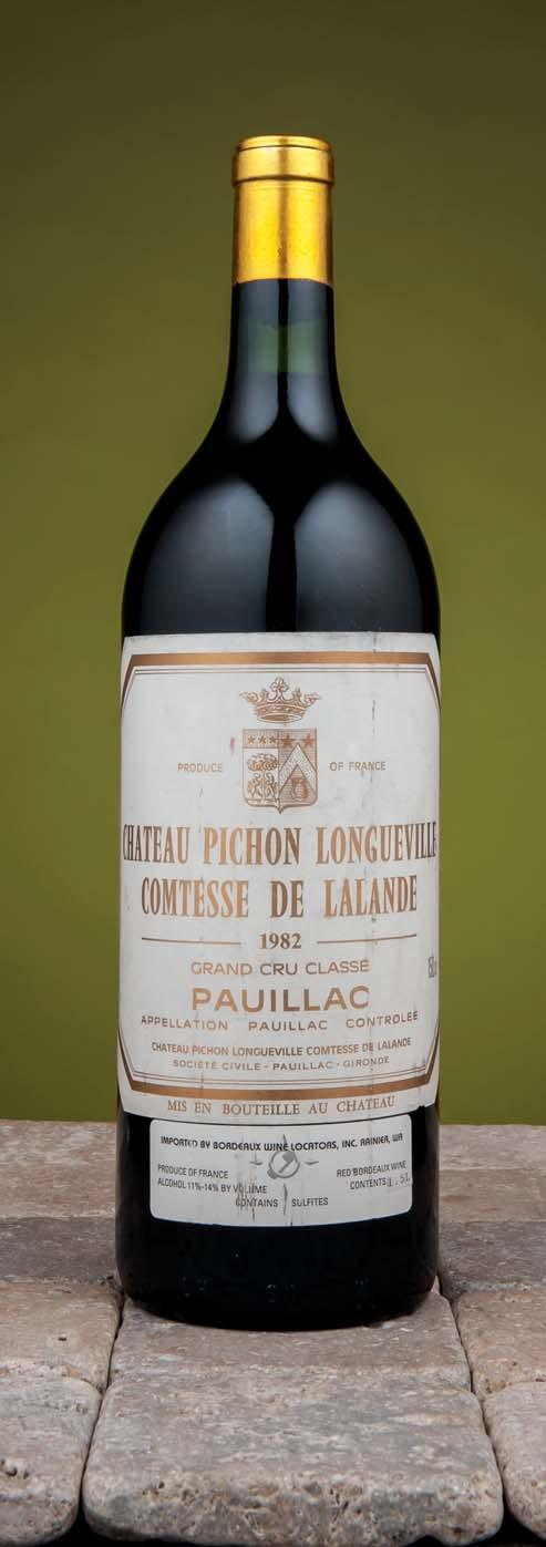 Château Pichon-Longueville, Lalande 1982 Pauillac, 2me cru classé Bottles: Two top shoulder, one very high shoulder level; one label damp stained and peeling; two label designs; Magnum: one slight