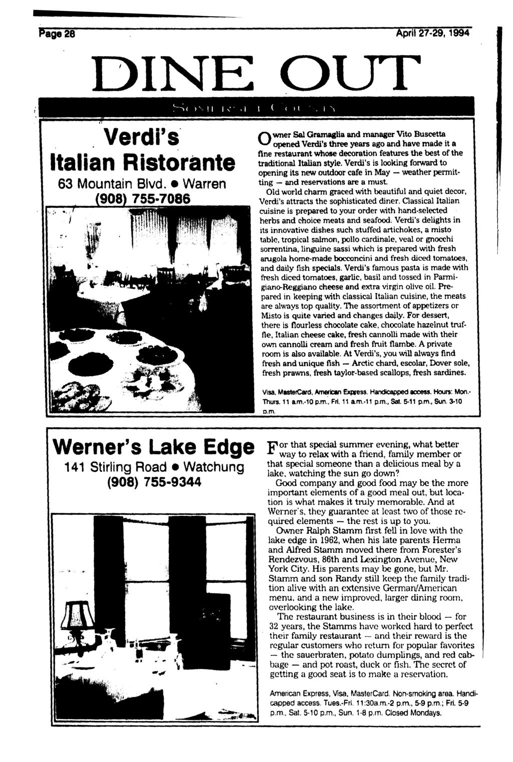 Pag 28 April 27-29,1994 DINE OUT < > v 11 I v 1 ( ( Verdi's Italian Ristorante 63 Mountain Blvd.