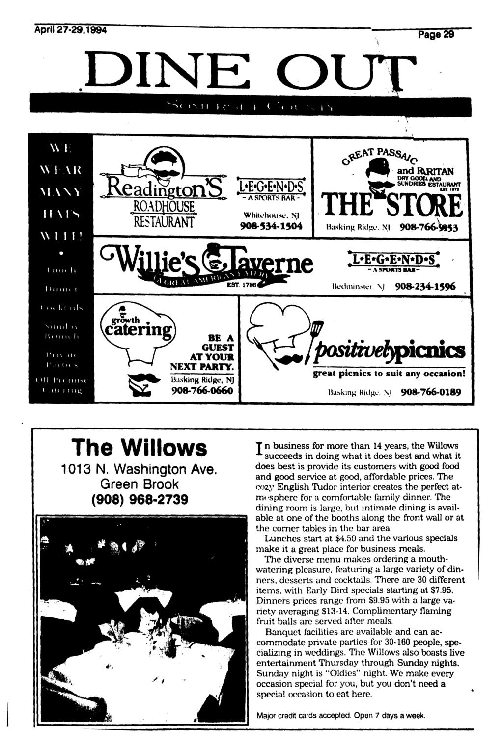 April 27-29,1994 DINE O MANY II VIS ROAD UOUSE RESTAURANT S BAR - Whitohouse, NJ 908,534-1504 andrkkttan ORYCOObANO SUNDRIES IAT tfw THFSTCRE Basking Ridge.