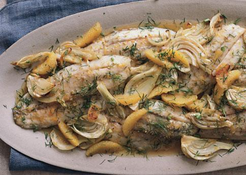 Roasted Barramundi with Fennel and Orange Serves: 4 Prep Time: 15 minutes Cook Time: 40 minutes 1 ½ pounds US (Australis) Barramundi fillets with skin or four 6-ounce skinless fillets 2 teaspoons