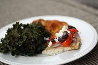 Mediterranean Barramundi Serves: 2-3 Prep Time: 15 Cook Time: 15 1 lb of Barramundi 1 red pepper 1/2 large red onion 1/4 cup kalamata olives, sliced in half 2 tbsp feta cheese 1/2 lemon 1 tbsp olive