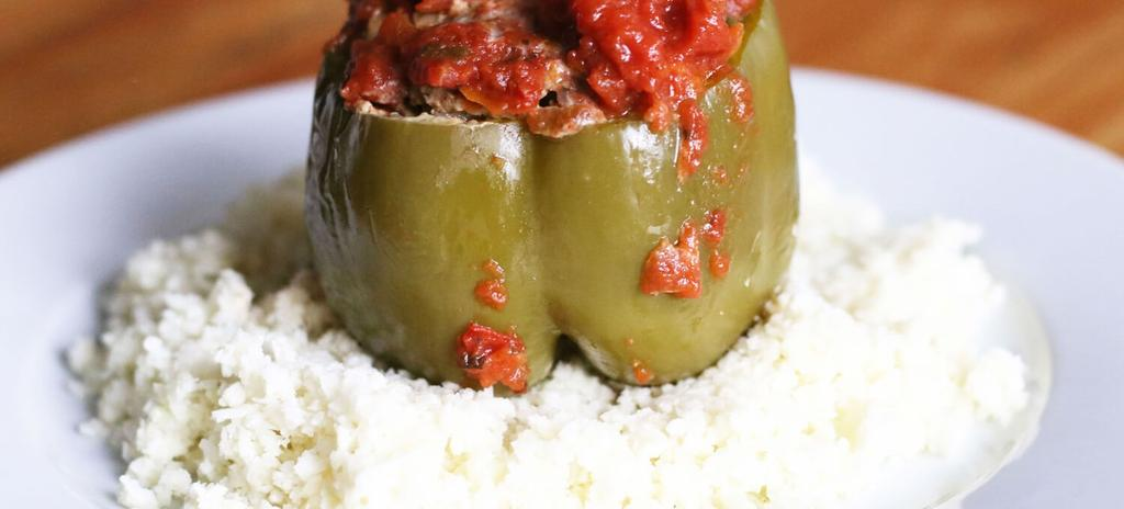 Crock Pot Stuffed Bell Peppers #dinner #paleo #lunch #glutenfree #nutfree #appetizer #crockpot #dairyfree 15 ingredients 4 hours 1. Slice the tops off the peppers and carve out the seeds. Set aside.