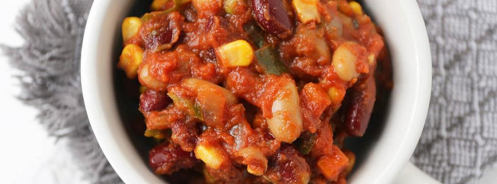 Slow Cooker Vegan Chili 13 ingredients 8 hours 8 servings 1. Add whole tomatoes with juice to the slow cooker and roughly crush with your hands. Add remaining ingredients and stir until combined. 2.