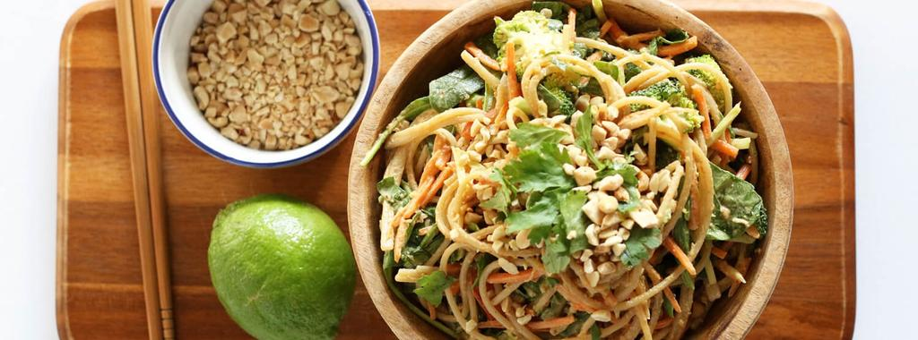 Asian Slaw with Noodles & Peanut Sauce 14 ingredients 20 minutes 4 servings 1. Cook your brown rice spaghetti noodles according to the package.