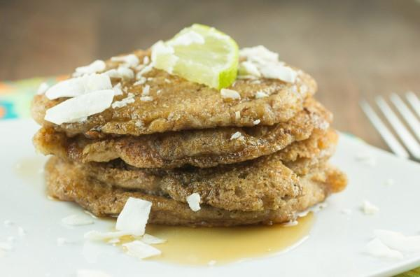 Meal # 1 Coconut Lime Pancakes Number of servings 4 approximate cooking time: 20 minutes Calories 404, Fat 37.1g Carbohydrates 16.6g, Protein 5.