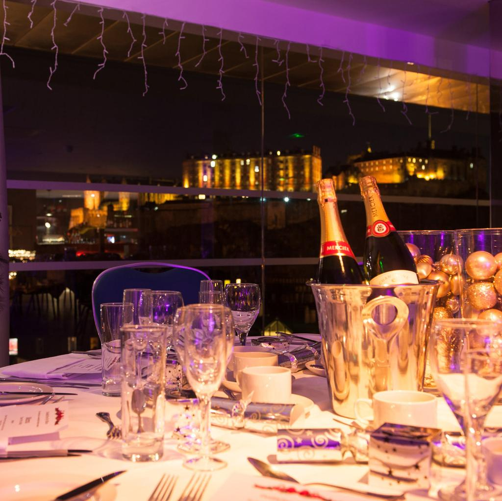 STUNNING PRIVATE PARTIES Spend your celebration overlooking the stunning skyline view of Edinburgh whilst enjoying great food, drink and entertainment.