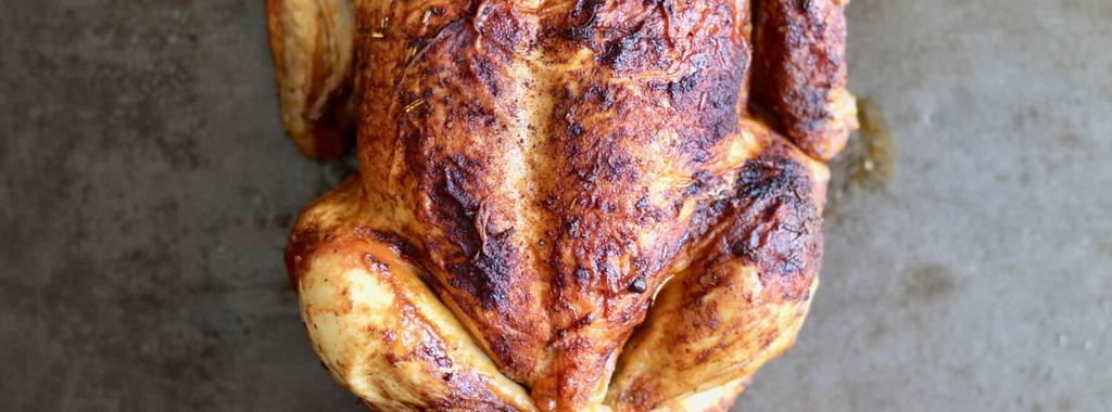Roasted Chicken 6 ingredients 2 hours 4 servings 1. Preheat oven to 350 degrees F. 2. Place chicken in a roasting pan, rub with oil, and season generously inside and out with salt, pepper, poultry seasoning, and paprika.