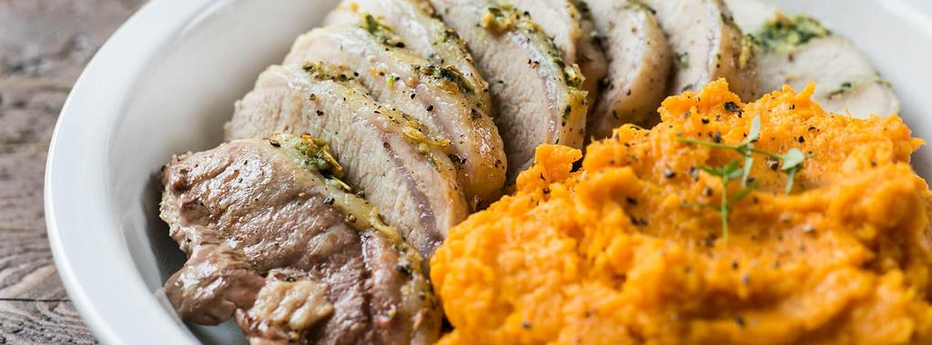 Herbed Pork Roast with Sweet Potato Mash 10 ingredients 1 hour 4 servings 1. Preheat oven to 400 degrees F. 2. Mash together rosemary, thyme, garlic, sea salt and black pepper into a paste. 3.