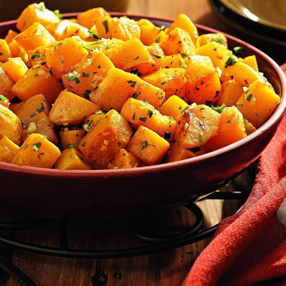 Oven Roasted Squash with Garlic and Parsley 5 pounds winter squash (such as butternut), peeled, seeded and cut into 1- inch chunks 2 tablespoons extra- virgin olive oil, divided 1 1/2 teaspoons salt