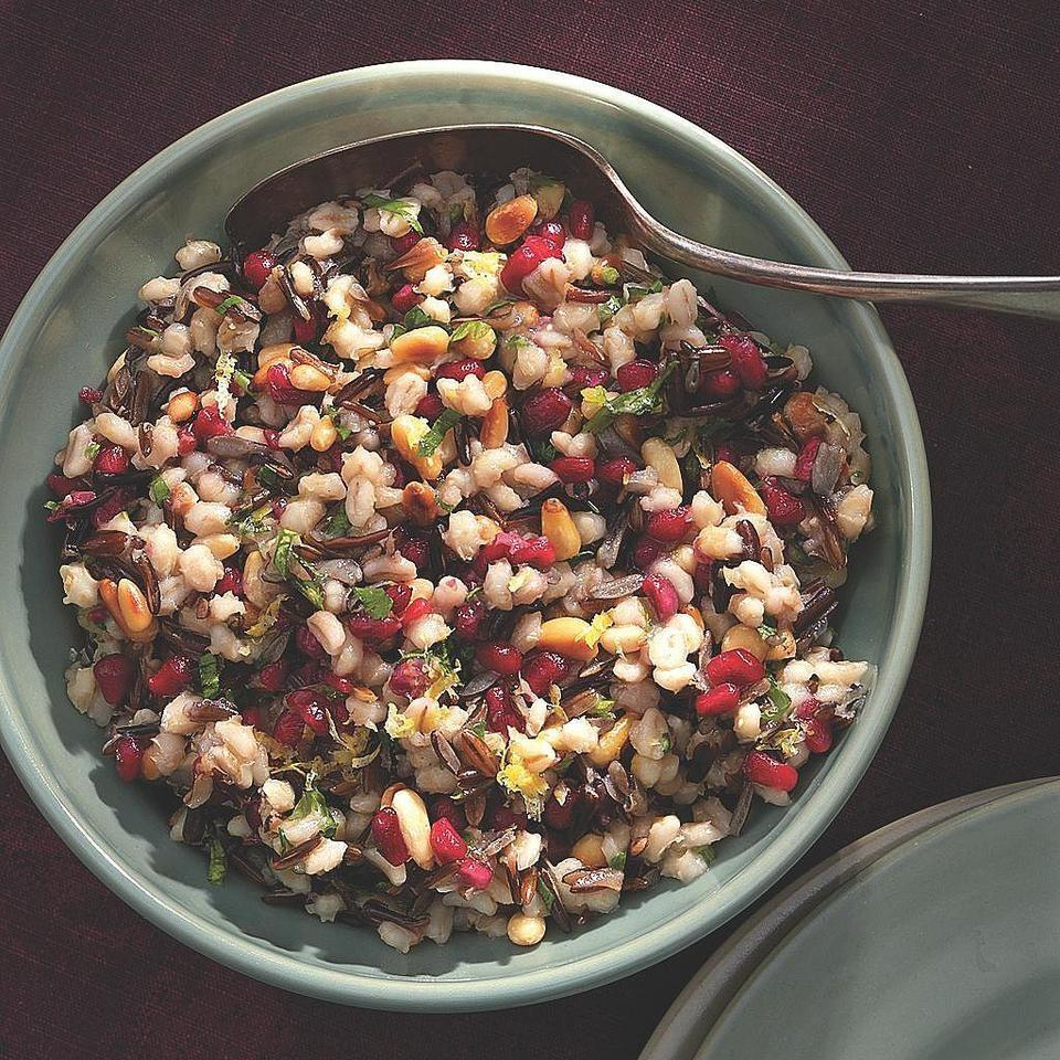 Barley & Wild Rice Pilaf with Pomegranate Seeds 2 teaspoons extra- virgin olive oil 1 medium onion, finely chopped 1/2 cup wild rice, rinsed 1/2 cup pearl barley (or quinoa) 3 cups reduced- sodium